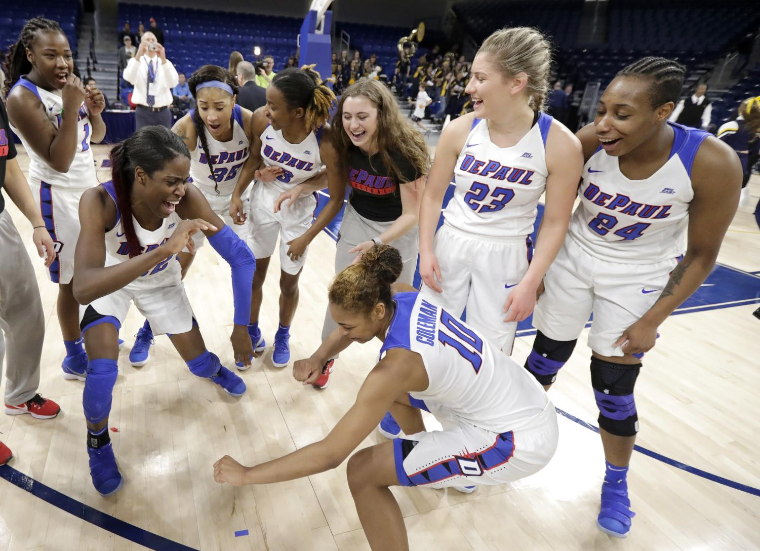 DePaul joins Connecticut, Notre Dame, Stanford, Tennessee and Oklahoma as the only other schools to participate in the last 16 NCAA Tournaments.  Charles Rex Arbogast | AP