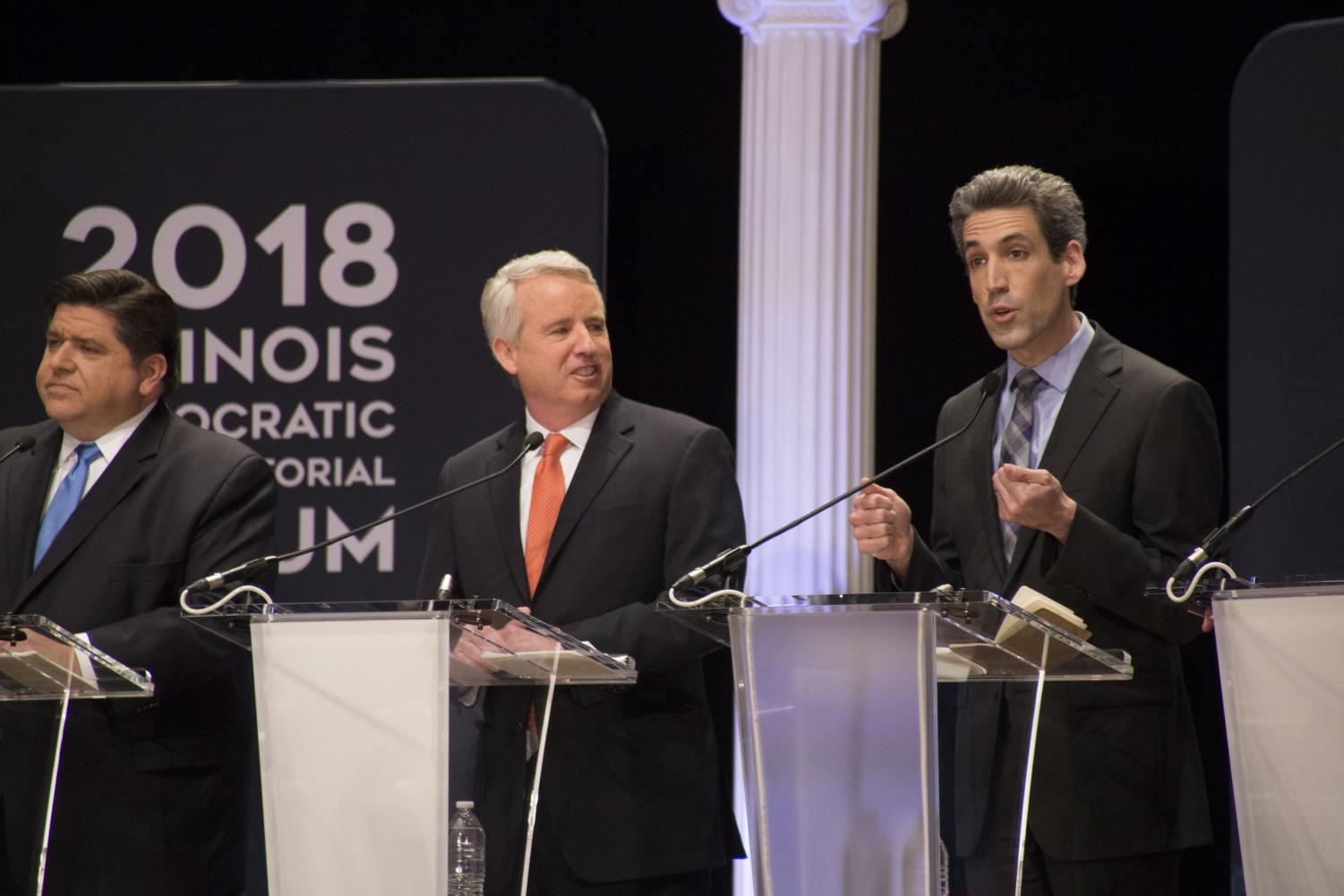 Billionaire and front-runner candidate for governor JB Pritzker (left), is closely followed by Chris Kennedy (middle) and State Senator Daniel Biss (right). Personal attacks have been a big part of the race.