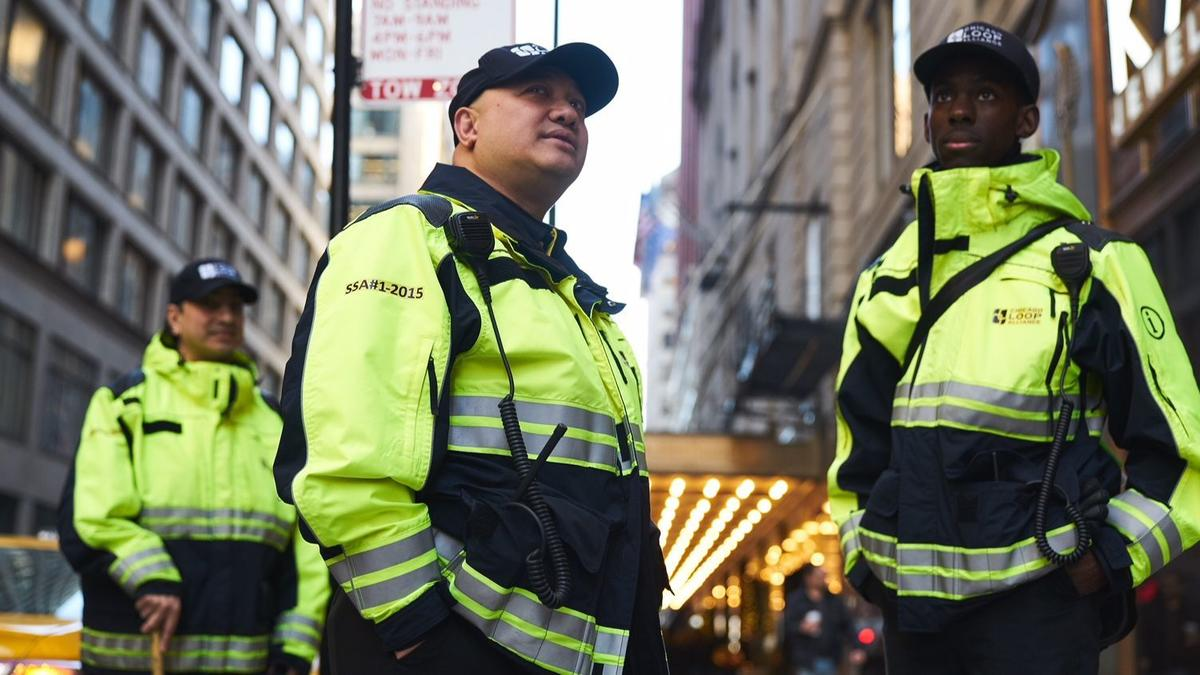 The guards were hired to curb shoplifting, panhandling and hasten response times.  (Photo courtesy of Chicago Loop Alliance)