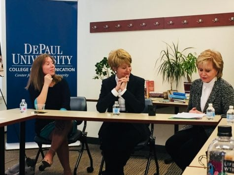 Codirector of the DePaul Center for Journalism Integrity and Excellence Carol Marin interviews Pauley and Pistone about the challenges of journalism. (Brian Pearlman | The DePaulia)