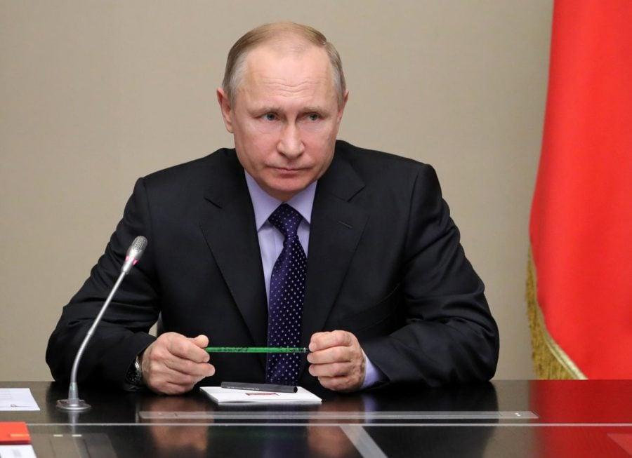 Russian President Vladimir Putin chairs a Security Council meeting at the Novo-Ogaryovo residence outside Moscow, Russia, Thursday, April 19, 2018.  (Mikhail klimentyev | Kremlin Pool Photo via AP)