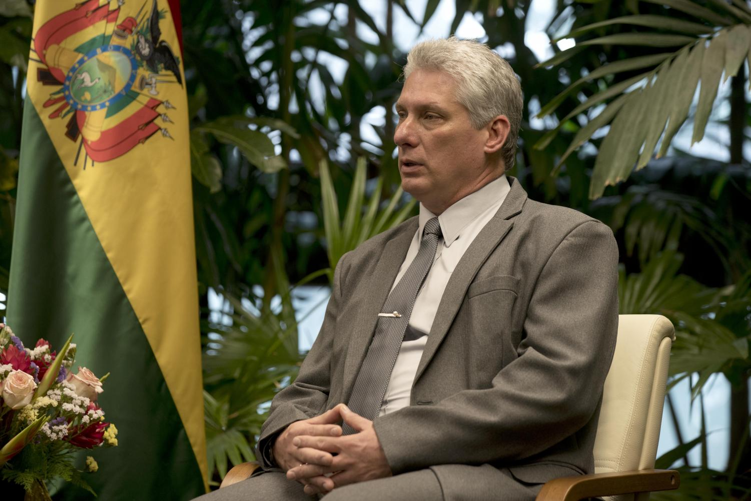 Cuba's President Miguel Diaz-Canel during an April 23, 2018 meeting with the Bolivian president at Revolution Palace in Havana, Cuba.  (Ramon Espinosa | Pool via AP)