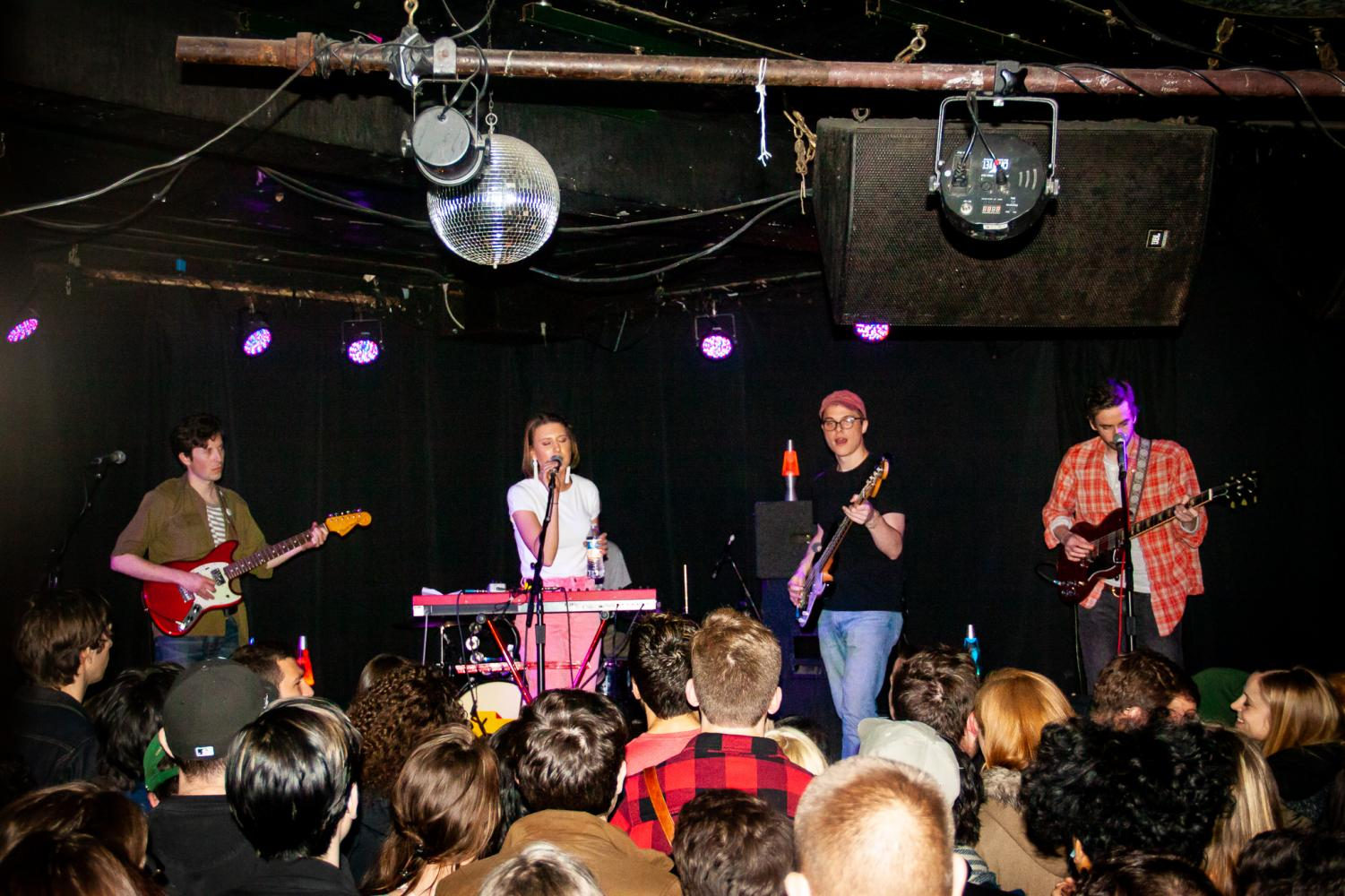 The five-piece band Varsity on stage during their show at Empty Bottle on Friday April 20. Their setlist for the performance showcased an organic spin on indie rock pop. (Alicia Maciel | The DePaulia)