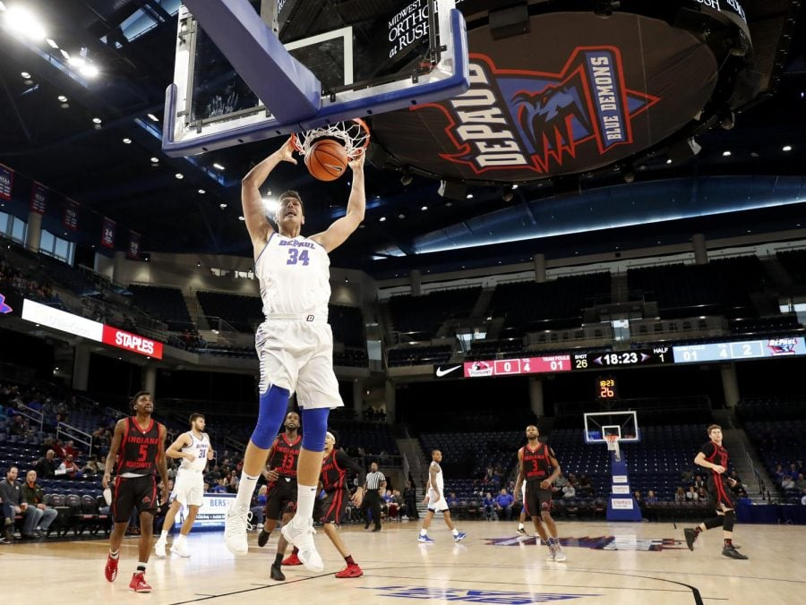 Marin+Maric+throws+down+a+dunk+in+DePaul%27s+preseason+exhibition+game.+%0A%28Photo+courtesy+of+DePaul+Athletics%29