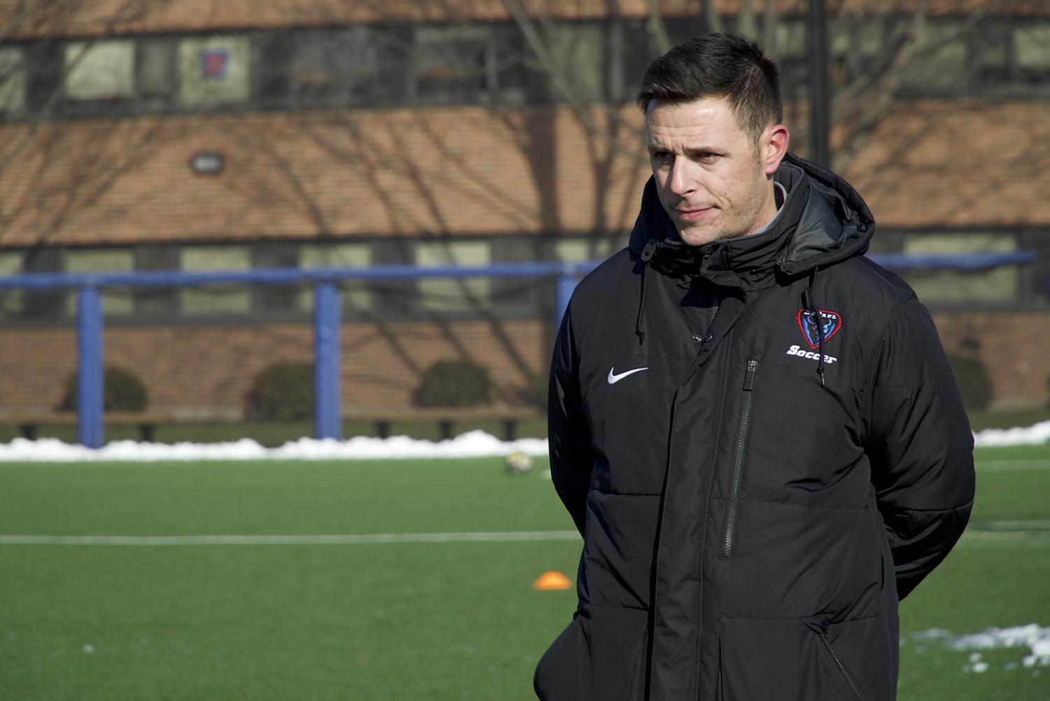 Mark Plotkin has used the spring to get a better sense of his new team as he prepares for his first season as head coach of the men's soccer team.  (Alejandro Trevino/DePaul Athletics)