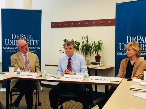 Congressman Quigley talks about all things journalism with DePaul's Advanced Reporting students. (Brian Pearlman | The DePaulia)