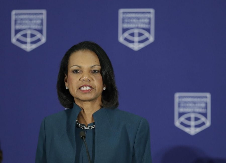 Former+Secretary+of+State+and+Stanford+University+Provost+Condoleezza+Rice+chairs+the+Commision+on+College+Baksetball.%0A%0ADarron+Cummings+%7C+AP+
