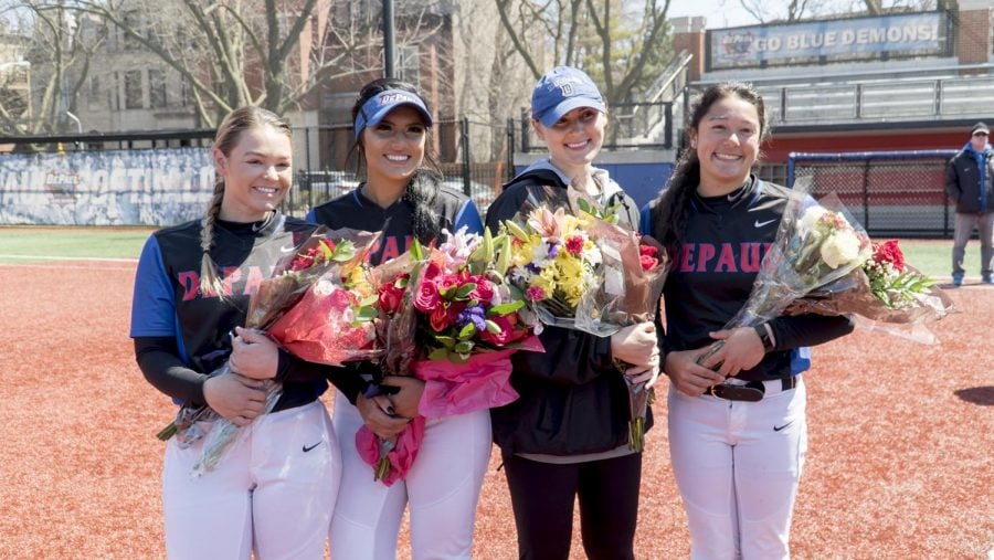 DePaul+honored+seniors+Haydn+Christensen%2C+Kennedy+Garcia%2C+Kayla+Landwehrmier+and+Megan+Leyva+after+the+game.+%0A%28Alejandro+Trevino+%7C+DePaul+Athletics%29%0A