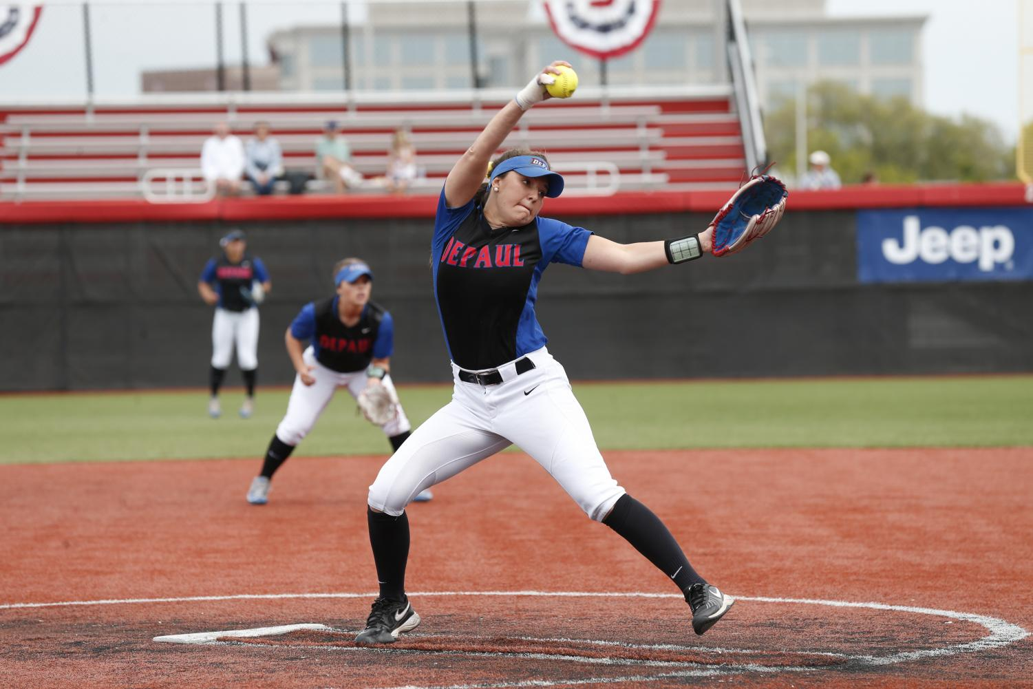 After bursting onto the scene as a freshman, sophomore pitching sensation Missy Zoch has nine complete games this season. (Steve Woltmann | DePaul Athletics)