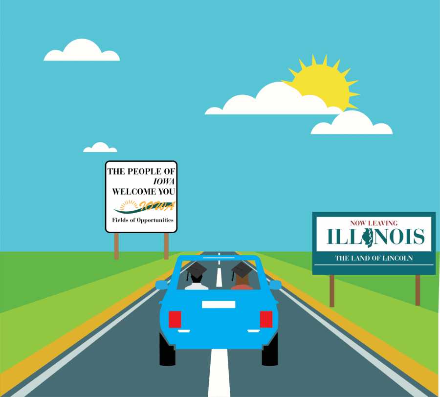 Young Illinois residents have been leaving for surrounding states with cheaper public university tuition and lower property taxes in massive numbers.  (Victoria Williamson | The DePaulia)
