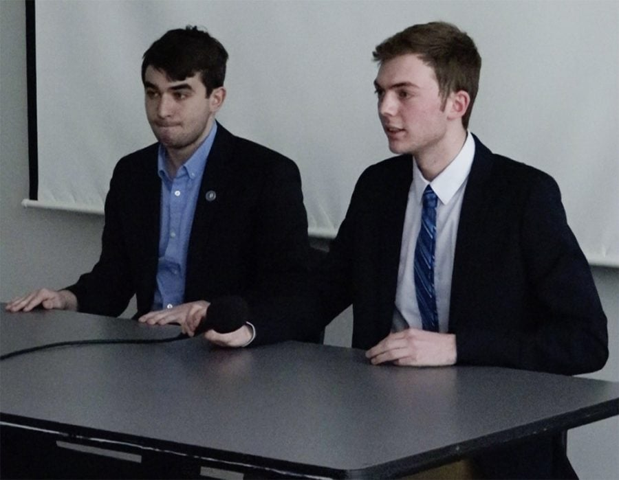 Kaufman (left) and Evans (right) went at it for over an hour during the first presidential debate. (Photo courtesy of The DePaulia)