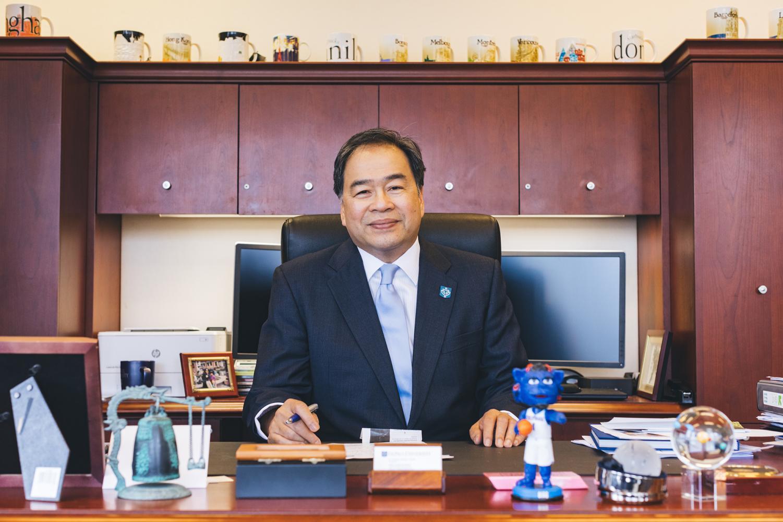 49e15e67160 Forward thinker: President Esteban talks enrollment, endowment and hope for  athletics