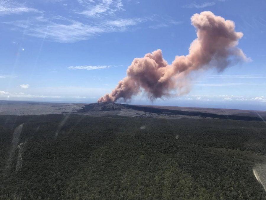 Red ash rises from the Puu Oo vent on Hawaiis Kilauea Volcano after a magnitude-5.0 earthquake struck the Big Island, Thursday, May 3, 2018 in Hawaii Volcanoes National Park. (Kevan kamibayashi |U.S. Geological survey via AP)