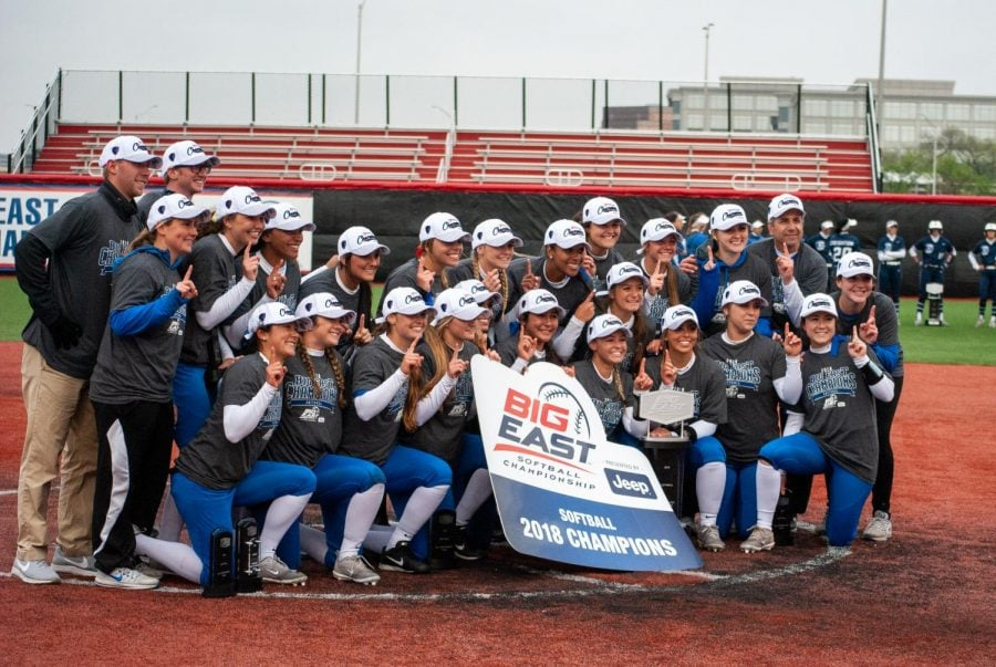 DePaul+softball+celebrates+their+2018+Big+East+Tournament+title.+The+Blue+Demons+won+their+third+straight+Big+East+Tournament+title+against+Villanova+on+Saturday+in+Rosemont.+
