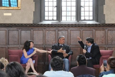 "Maria Hinojosa, Luis ""Suave"" Gonzalez, and Julio Ricardo Varela discuss Suave's time in prison. (Yazmin Dominguez 