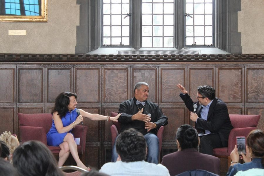 "Maria Hinojosa, Luis ""Suave"" Gonzalez, and Julio Ricardo Varela discuss Suave's time in prison. (Yazmin Dominguez | The DePaulia)"