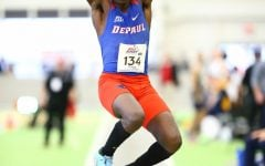 Brian Mada jumping at the 2018 Big East Indoor Track & Field Championship.