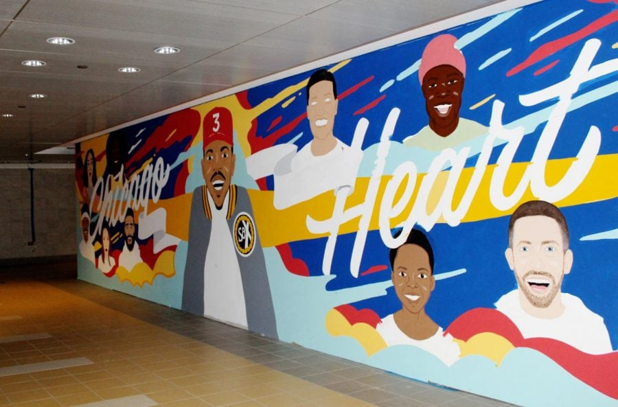 The mural, located in the pedway near Randolph St. and Michgan Ave., celebrates Chicago's influential creatives. Two DePaul students are also featured in the mural.