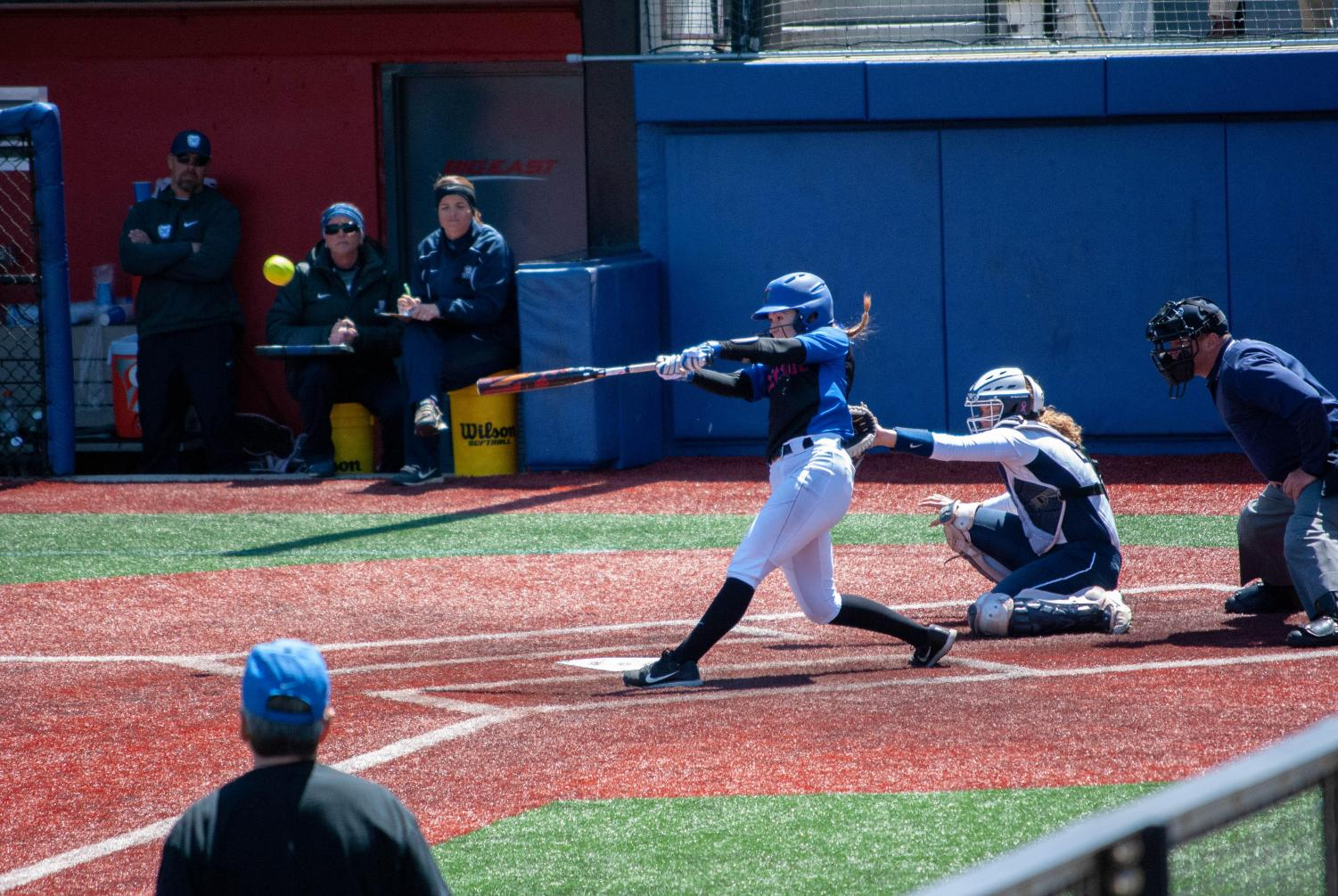 Freshman outfielder Kate Polucha singles to left in the fifth inning during DePaul's home series against Butler.   (Jonathan Aguilar | The DePaulia)
