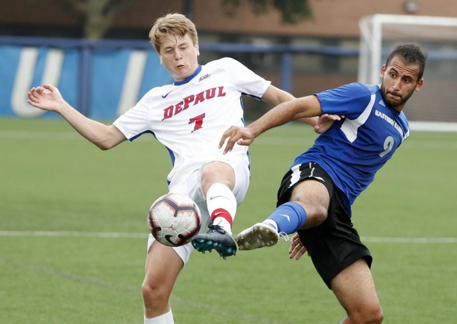 Freshman forward Jake Fuderer recorded his first assist of the season for DePaul after also notching one in an exhibition win over EIU.  Photo courtesy of DePaul athletics.