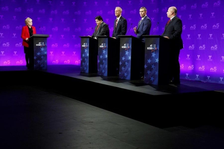 In first debate, titans clash, backmarkers make their case