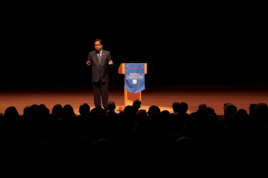 President A. Gabriel Esteban took the stage at the Holtschneider Preformance Center to deliver a 45-minute state of the university address to faculty and staff on Thursday Oct. 4.