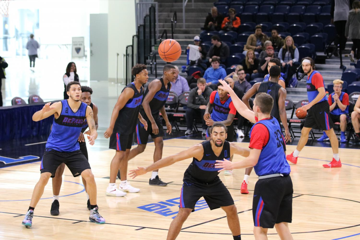 DePaul players practice at Wintrust Arena as part of an open practice on Oct. 13.  Alec Farley | The DePaulia