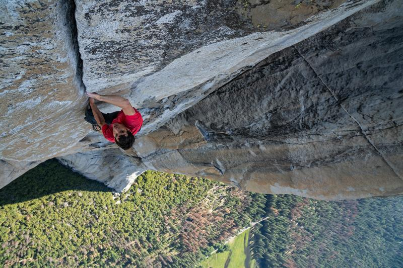 Alex Honnold making the first free solo ascent of El Capitans Freerider in Yosemite National Park, CA. (National Geographic/Jimmy Chin)