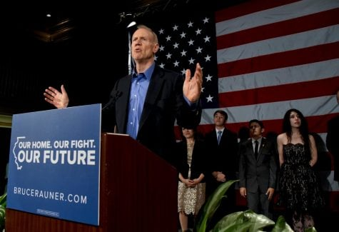 Illinois Gov. Bruce Rauner speaks to supporters after losing his re-election bid to Democratic gubernatorial candidate J.B. Pritzker on Nov. 6, 2018.
