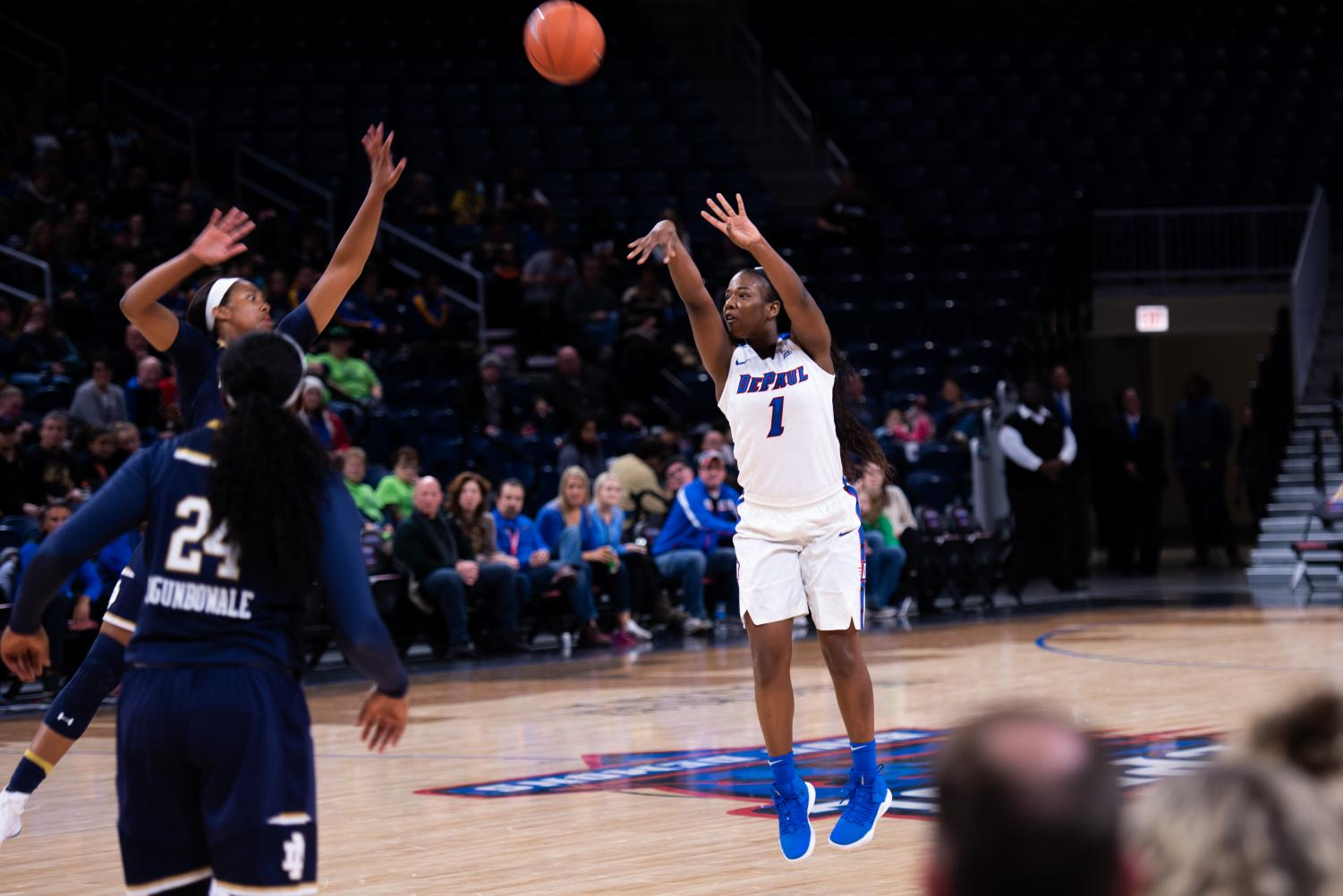 DePaul senior guard Ashton Millender tied a career high with 27 points in a loss to Notre Dame on Saturday at Wintrust Arena. Jonathan Aguilar | The DePaulia