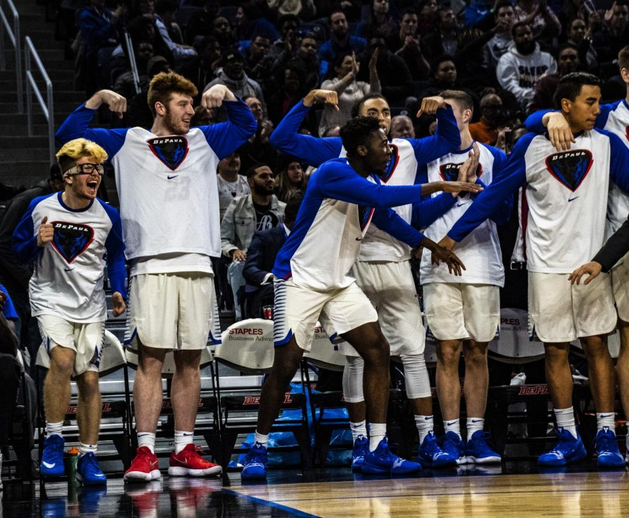 The+DePaul+bench+celebrates+during+a+72-70+victory+against+Penn+State+Nov.+15.+Richard+Bodee+I+The+DePaulia