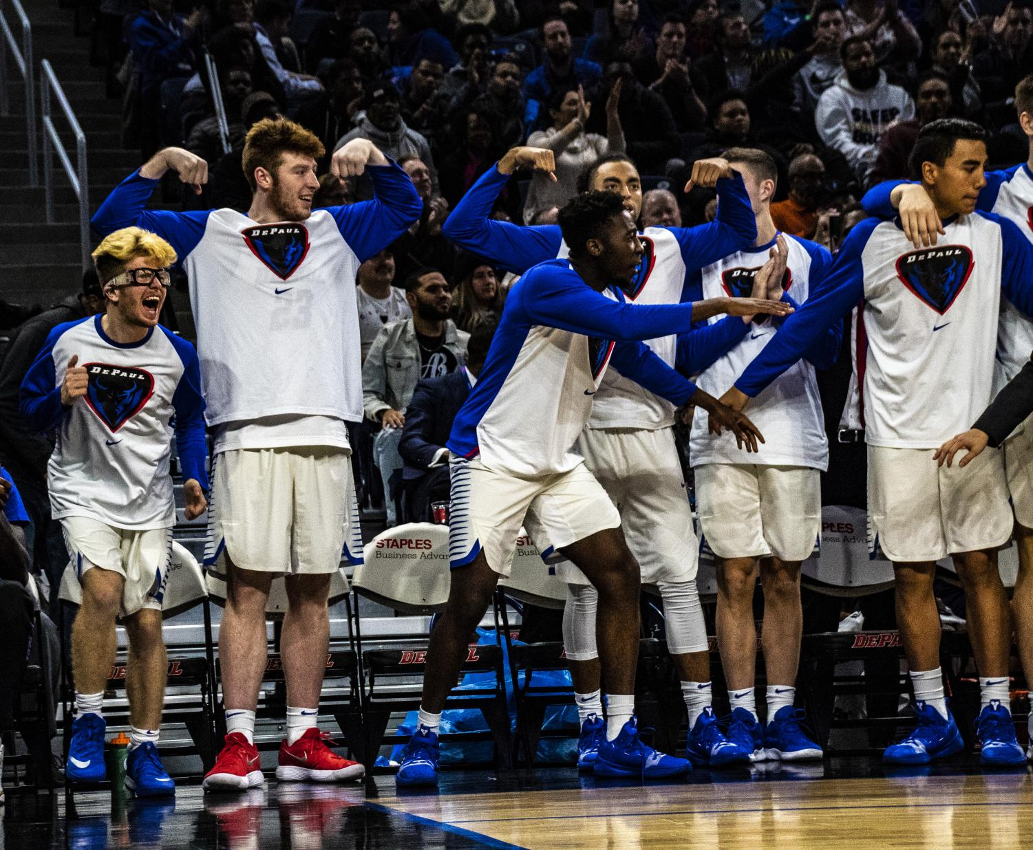 The DePaul bench celebrates during a 72-70 victory against Penn State Nov. 15. Richard Bodee I The DePaulia