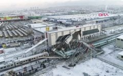 This image made from video shows aftermath of a high-speed train crash at a station in Ankara, Turkey, Thursday, Dec. 13, 2018. The train hit a railway engine and crashed into a pedestrian overpass at the station on Thursday. (DHA via AP)