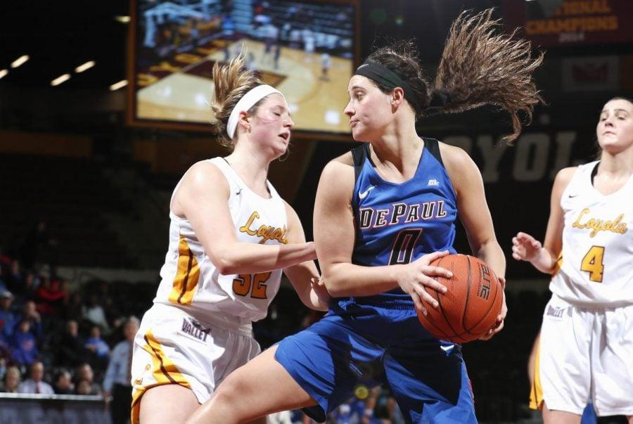 Senior+Rebekah+Dahlman+set+a+career-high+with+13+rebounds+against+Loyola+on+Thursday+night.+Steve+Woltmann+%7C+DePaul+Athletics