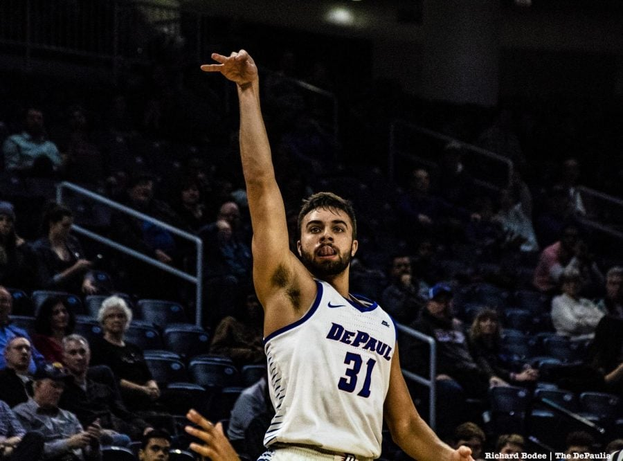 Blue Demons star Max Strus tied a DePaul Blue Demon record with eight 3-point field goals Friday night against UIC. Richard Bodee I The DePaulia