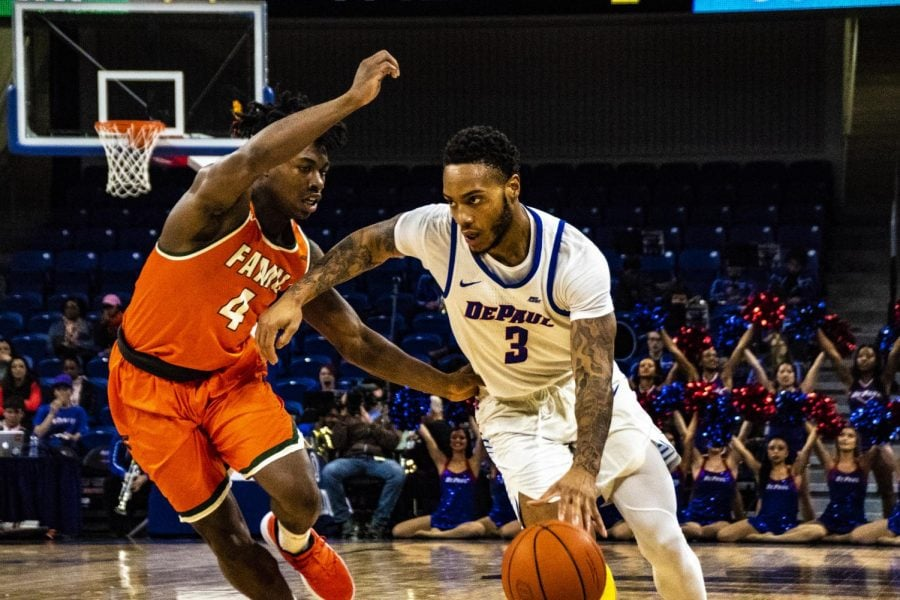 DePaul+sophomore+guard+Devin+Gage+drives+past+Florida+A%26M+guard+Rod+Melton+Jr.+during+Monday+night%27s+win.+