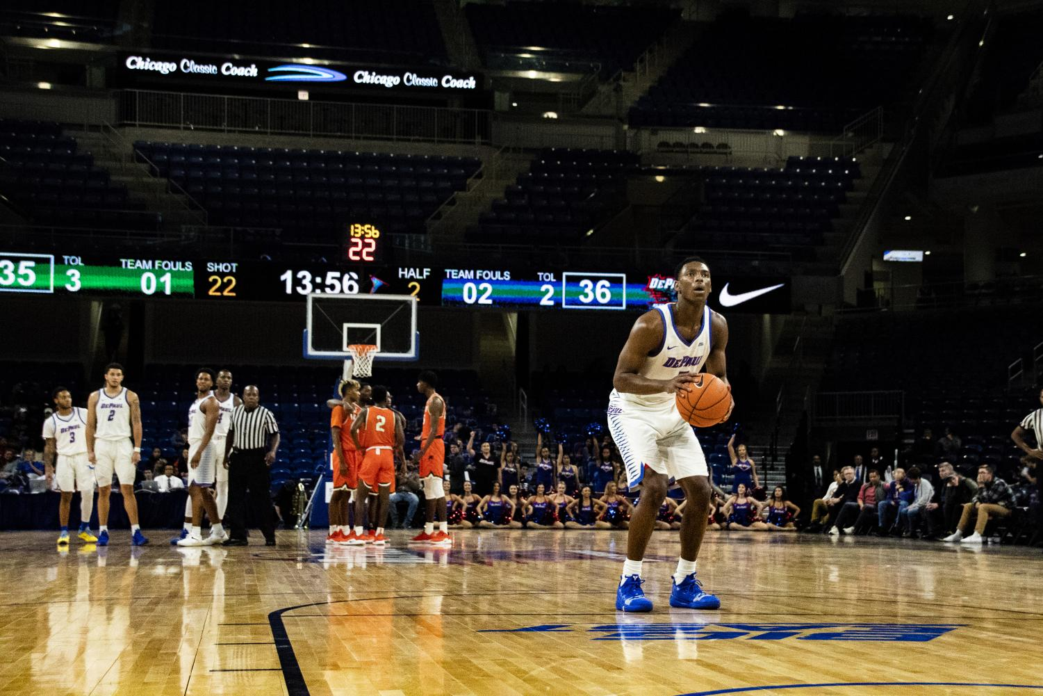 DePaul guard Jalen Coleman-Lands attempts a technical free throw against Florida A&M. Richard Bodee I The DePaulia