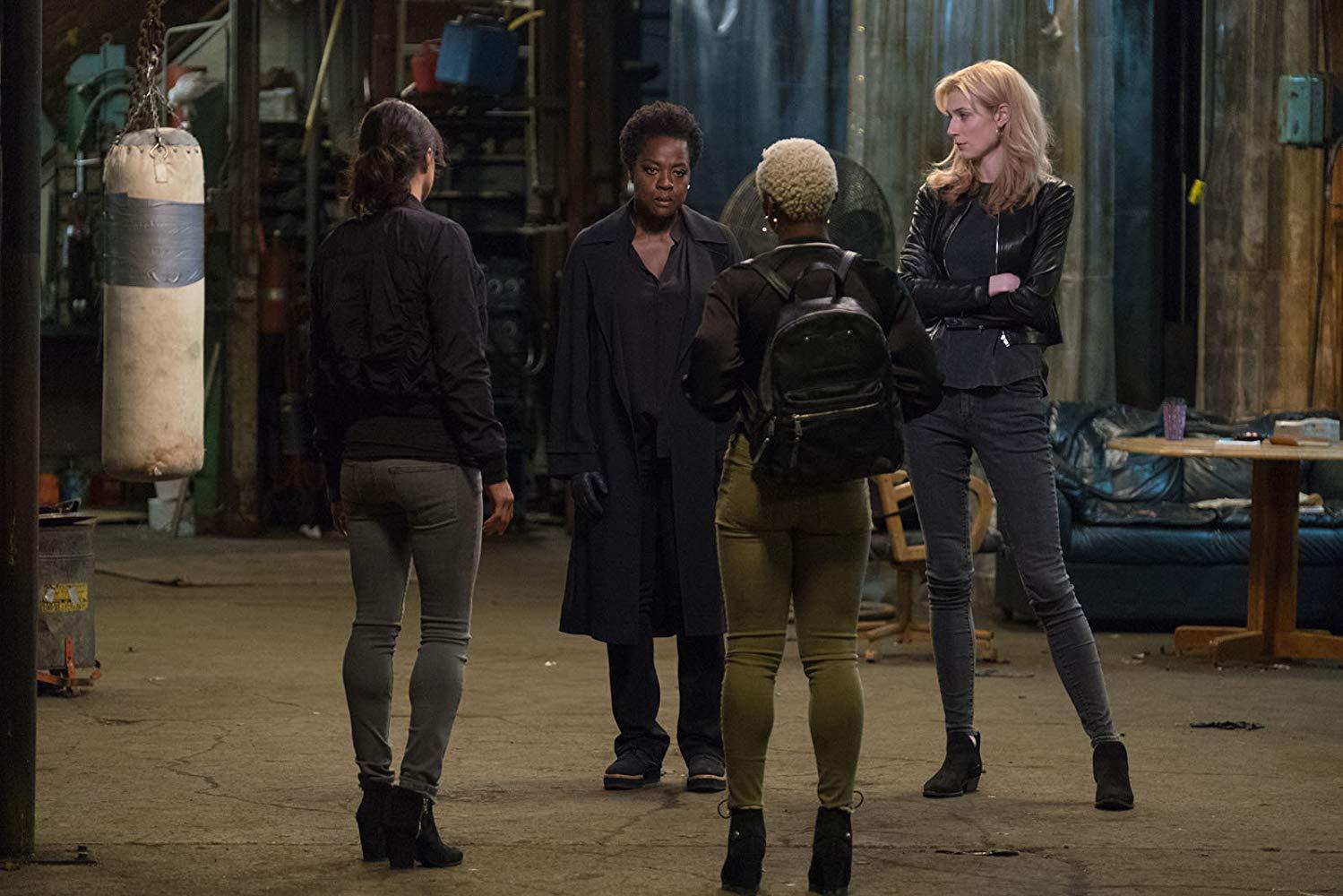 Left to right: Elizabeth Debicki, Viola Davis, Michelle Rodriguez and Cynthia Erivo in