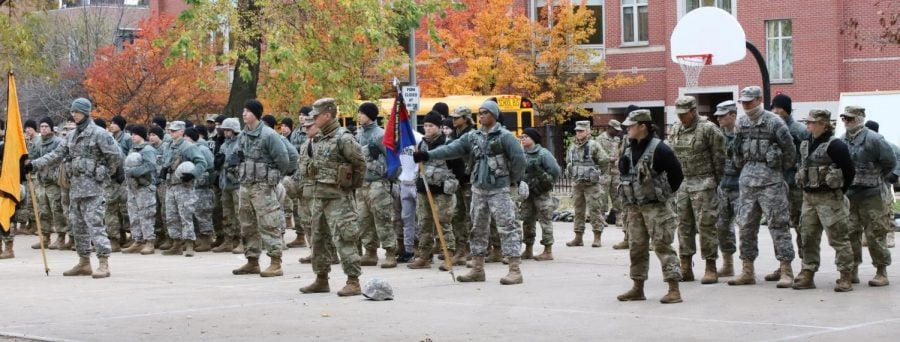 The Rambler Battalion in formation after running reconnaissance drills in Oz Park on Nov. 8. Weekly Leadership Labs allow the ROTC companies from the schools that comprise the Rambler Battalion –  Loyola University, Northeastern Illinois University, North Park University, Northwestern University and DePaul –  to come together as one.