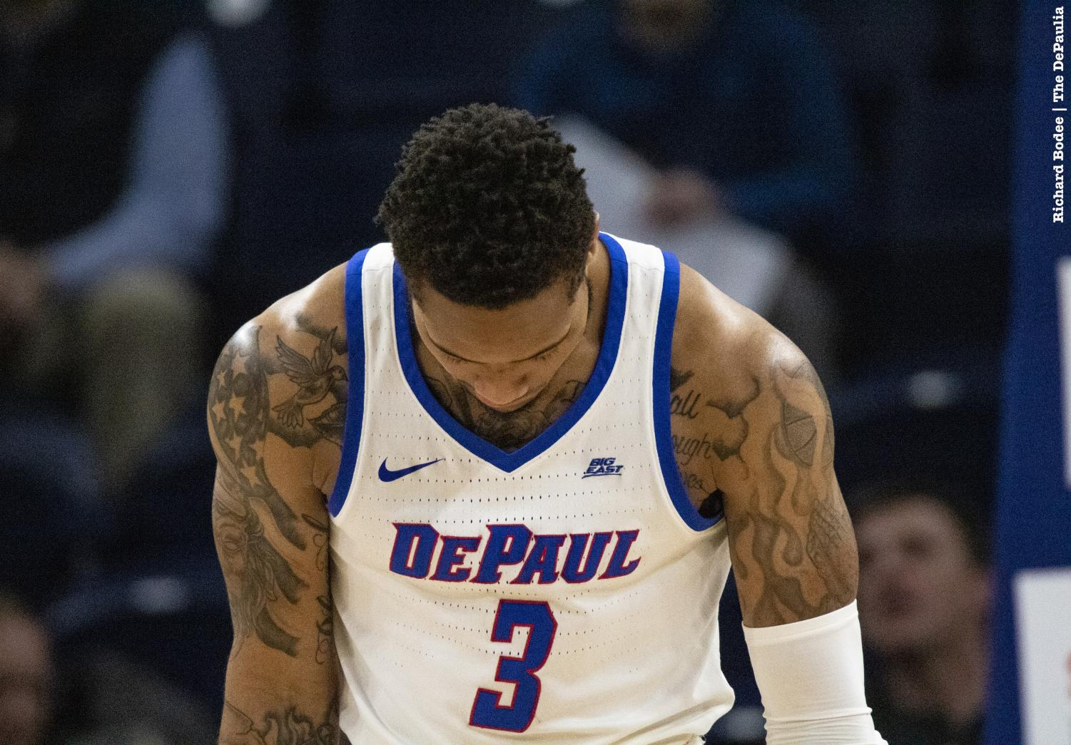 Sophomore+guard+Devin+Gage+hangs+his+head+during+the+second+half+of+DePaul%27s+loss+to+Butler+Wednesday+night+at+Wintrust+Arena.+Richard+Bodee+%7C+The+DePaulia