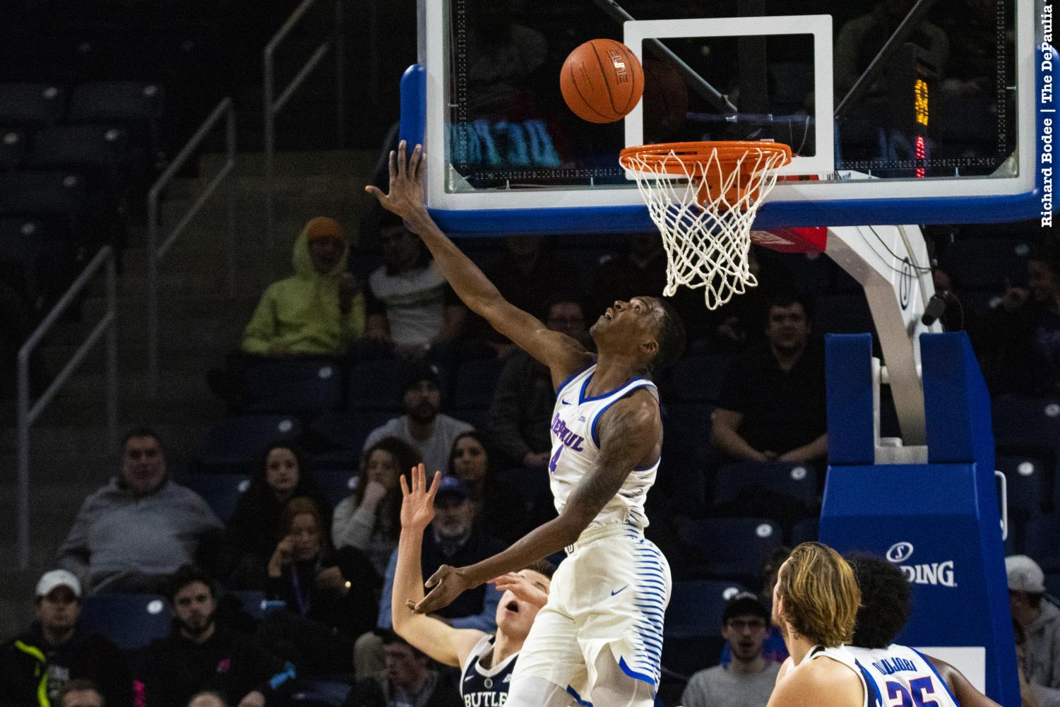 Sophomore+Paul+Reed+tries+to+block+a+shot+during+the+first+half+of+DePaul%27s+loss+to+Butler+Wednesday+night+at+Wintrust+Arena.+Richard+Bodee+%7C+The+DePaulia