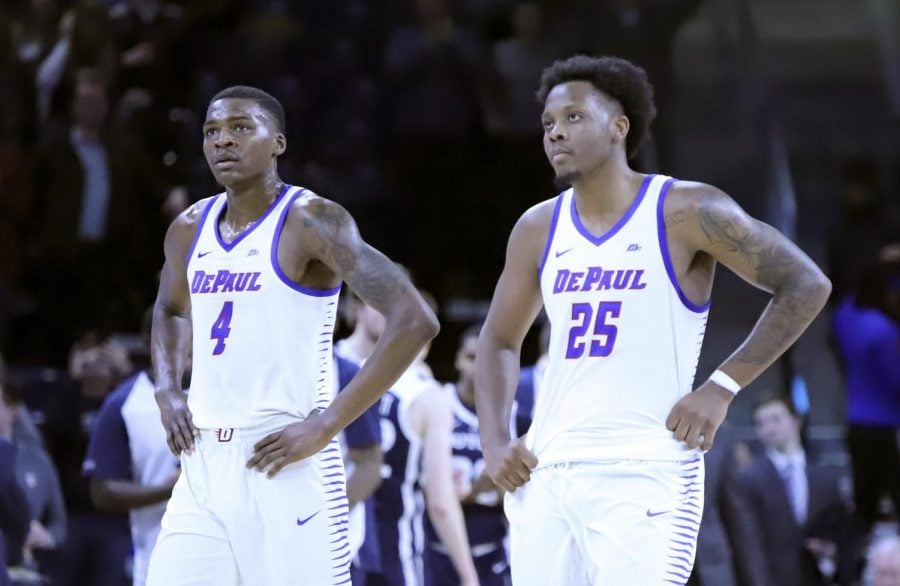 Sophomore+forward+Paul+Reed+and+senior+forward+Femi+Olujobi+look+on+during+DePaul%27s+loss+to+Butler+on+Jan.+16+at+Wintrust+Arena.