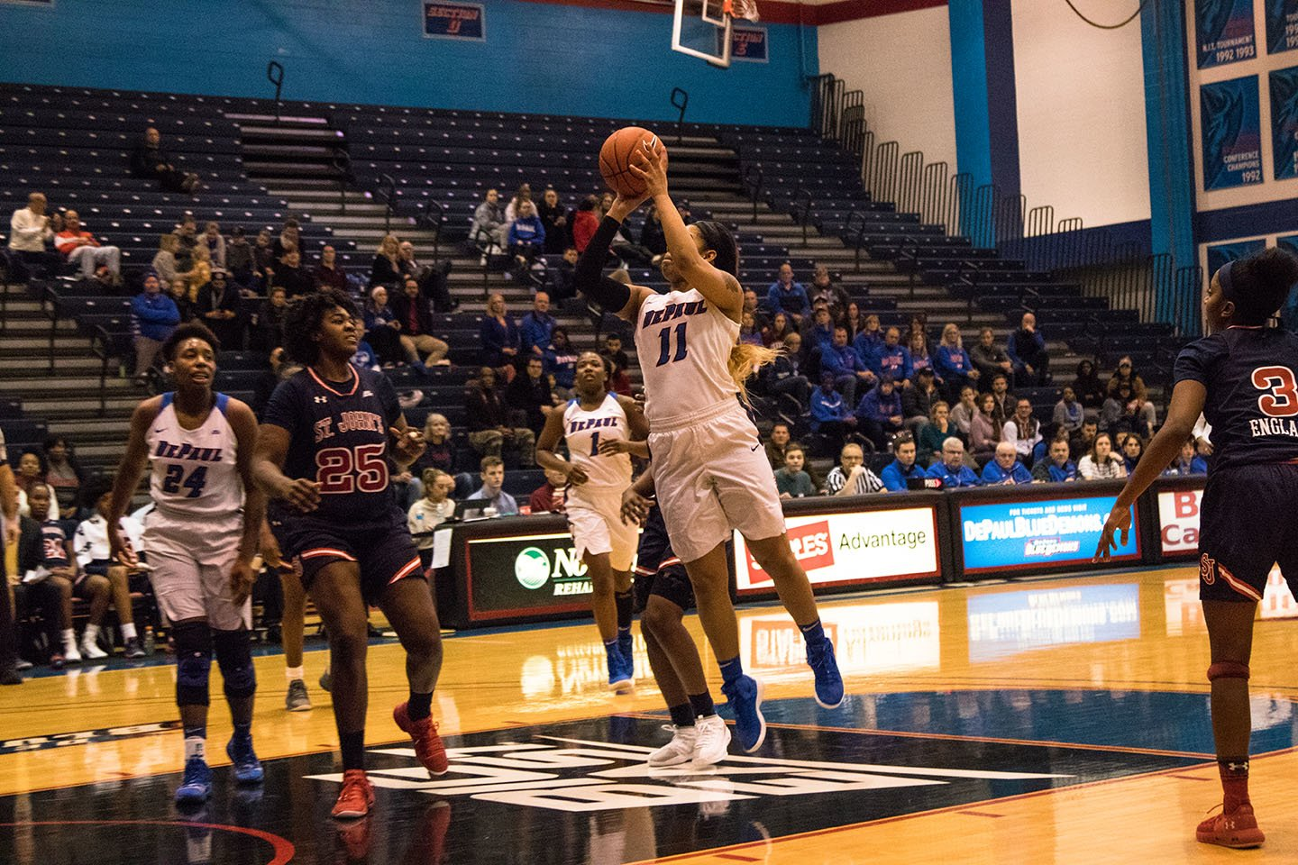 DePaul freshman Sonya Morris shoots a jumper during the first half of the Blue Demons win over St. John's Friday night at McGrath-Phillips Arena. Joey Pusateri | The DePaulia