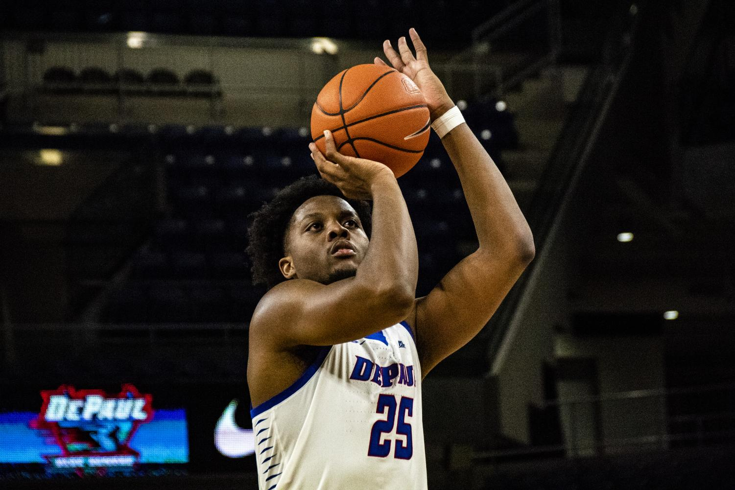 Senior forward Femi Olujobi locks in on a jumper during the Blue Demons 65-50 win against Florida A&M Monday night at Wintrust Arena. Richard Bodee I The DePaulia