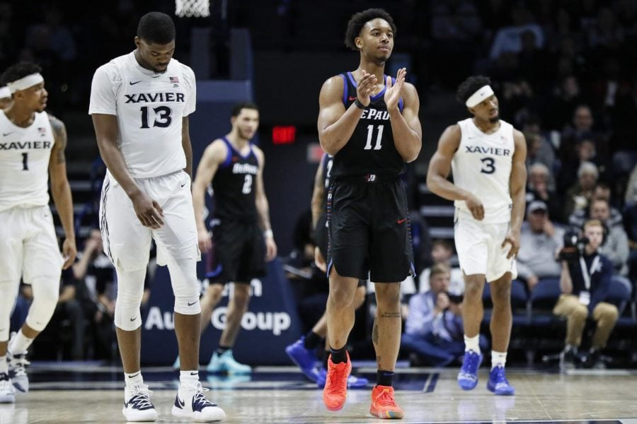 DePaul+senior+guard+Eli+Cain+celebrates+during+the+second+half+of+DePaul%27s+74-62+victory+over+Xavier+Saturday+night+at+the+Cintas+Center.+John+Minchillo+%7C+AP