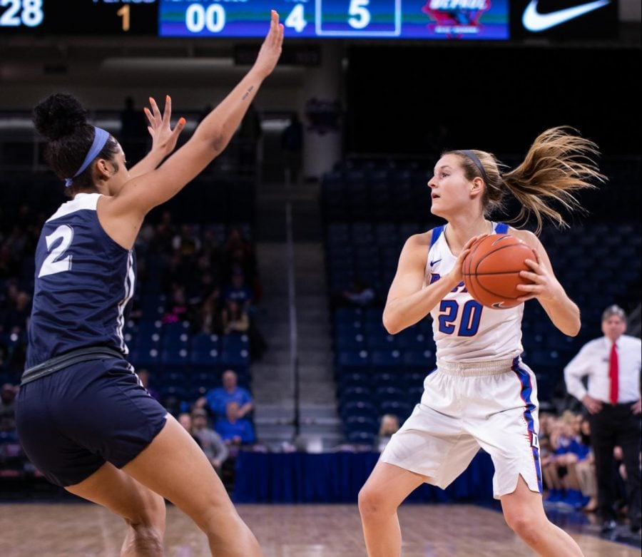DePaul+junior+guard+Kelly+Campbell+looks+for+the+pass+with+Xavier+forward+Deja+Ross+defending+her+Friday+night+at+Wintrust+Arena.+Jonathan+Aguilar+%7C+The+DePaulia+