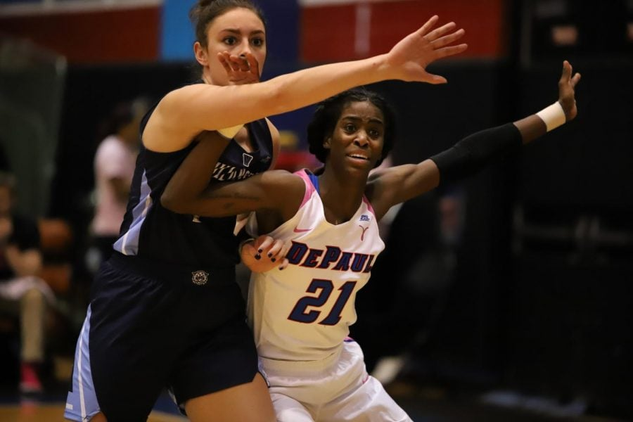 Senior+forward+Chante+Stonewall+fights+for+position+in+the+post+against+a+Villanova+defender.+Stonewall+finished+with+20+points+against+the+Wildcats.+Alexa+Sandler+%7C+The+DePaulia