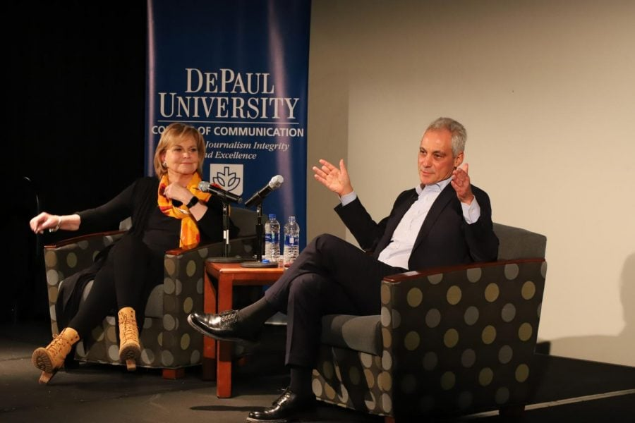 Mayor+Rahm+Emanuel+joins+journalism+professor+Carol+Marin+on+Tuesday%2C+Jan.+28+to+speak+to+students+about+the+relationship+between++journalists+and+public+officials.+