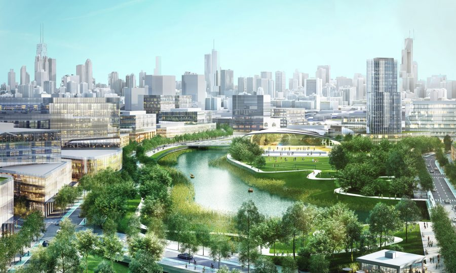 The proposed Lincoln Yards development will sit on 50 acres of riverfront property on the Northwest Side. The site will be home to a transportation hub, retail shops, office space, public parks and residential units.