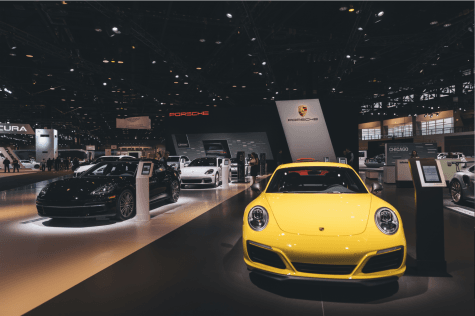 The Porshe display at the Chicago Auto Show at McCormick Place last year.